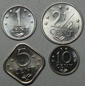 1981 Netherlands Antilles 1-21/2-5-10 Cents 4-Coin BU Set
