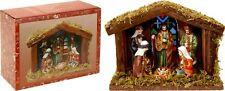 Christmas Nativity Scene in Stable Setting with 6 Ceramic Figurines and Light