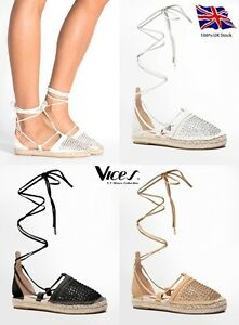 Womens-Ladies Diamante And Holes Front Flat Sandals Lace Up Espadrilles NEW*UK