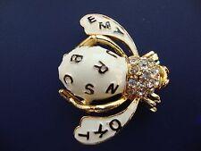 Joan Rivers Alphabet Bee Gold Lettering Over White Enamel Brooch/Pin Rhinestones