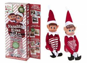 The Naughty Shelf Christmas Elves Behavin Badly Twin Pack Boy & Girl On Display
