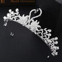 Bridal Hair Crystal Swan Crown Hollow Peal Baroque Tiara Wedding Hair Accesso X