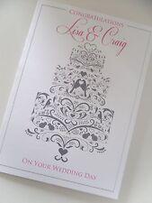 Hecho a mano personalizado felicitaciones por su tarjeta de día de bodas pastel de diseño ()