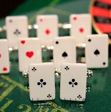 FUNKY PLAYING CARDS CUFFLINKS COOL DADS GIFT POKER CASINO LAS VEGAS WEDDING PROM