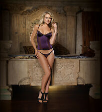 Sexy Plum Stretch Satin Bustier With Black Eyelash Lace Overlay Trim Lingerie!