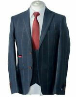 MEN'S 3 PIECE BLUE CHECK TWEED SUIT- JACKET, WAISTCOAT, TROUSERS SOLD SEPARATELY