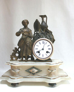 ANTIQUE 1860 FRENCH CLOCK STATUE ROMANTIC with alabaster base Japy Freres movem.