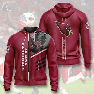 Arizona Cardinals Hoodies Football Zipper Sweatshirt Casual Sports Hooded Jacket