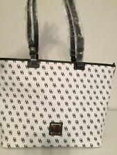 NWT Dooney & Bourke Gretta LARGE Leisure Zip Shopper Tote Bag -White/Black
