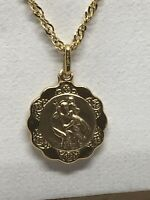 9ct 375 Hallmarked Solid Yellow Gold ST CHRISTOPHER PENDANT BRAND NEW GIFT
