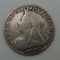 Silver 1898 Britain Threepence - Queen Victoria - Three Pence - 3d