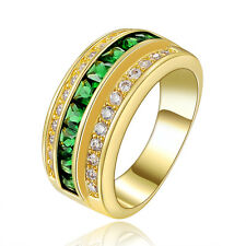 Size 7 Jewellry Emerald Engagement 18KT Yellow Gold Filled Ring Stamp 10KT Gift