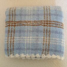 Carters Blue Chenille Baby Blanket Plaid White Brown Scalloped Edge Trim Stripe