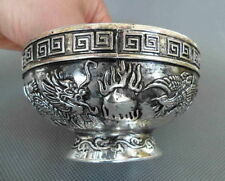 CHINA COLLECTIBLE MIAO SILVER CARVE DRAGON & PHOENIX AUSPICIOUS ROYAL NOBLE BOWL