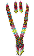 Necklace Earrings Set S54/5 Handcrafted Native Style Multi-Color Beaded