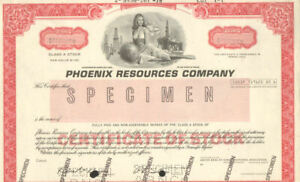 Phoenix Resources Company > Denver Colorado oil & gas stock certificate
