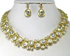 Clear Crystal Gold Necklace Earrings Set Wedding Formal Elegant Stunning