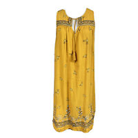 LOFT Women's Mustard Yellow Dress Sleeveless Embroidered Floral Medium Boho
