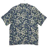 Hawaiian Silk Shirt Mens Size L Large Blue Green Button Front Short Sleeve WFF