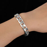 LN_ STUNNING Men, unisex 925 Sterling Silver Filled 6/8/10/12mm Curb chain bra