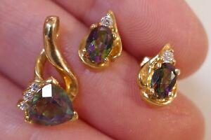 Vintage 10kt Yellow Gold Mystic Topaz Earring & Pendant Set - 3.0 Grams