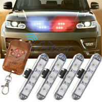 4X Car 4 LED Red & Blue Signal Strobe Flash Light Warning Lamp + Remote Control