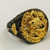 Chinese Dragon Geschnitzte Männer 18K Schwarz Gold Ring Braut Partei Überzo Y8K2