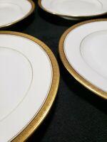 Set of (4) Bernaudaud Limoges France-Gold Encrusted Greek Key Bread/Dessert