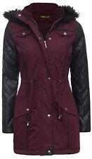 New Womens Plus Size PVC Sleeve Fur Hooded Fish Tail Parka Coats 8-24