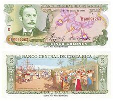COSTA RICA 5 i cloni 1990 P-236e BANCONOTE UNC