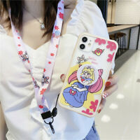 For iPhone 11 Pro XS Max XR X 7 8+ Cute Sailor Moon Girl strap Holder phone case