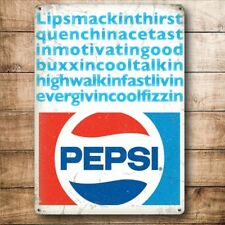Pepsi Cola Lipsmacking, Coke Retro Diner Drink, Small Metal Steel Wall Sign