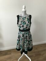 Principles Black/White/Green Fit &Flare Dress With Bright Floral Print - Size 16