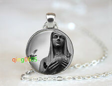 Mother Mary Statue Catholic dome Tibet silver Chain Pendant Necklace wholesale