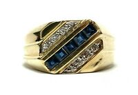 Mens Vintage 585 14k Yellow Gold Blue Sapphire & Diamond Ring Band Size 9
