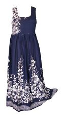 Blu Viscose Long Boho Maxi Dress Sleeveless Party Evening Size 14 16 18 20 22 24