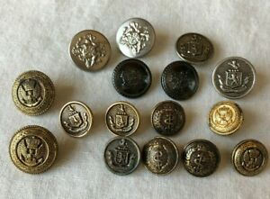 """Lot of 16 Metal Crest Coat of Arms Round Buttons 5/8-3/4"""" w Military Gold Silver"""