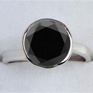 925 Sterling Silver & 4.90Ct AA Natural Earthmined Black Diamond Solitaire Ring