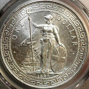 1897-B GREAT BRITAIN $1 TRADE DOLLAR~~ PCGS UNC DETAIL