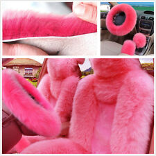 5Pcs Furry Genuine Australian Sheepskin Fur Car Seat Covers Interior Accessories
