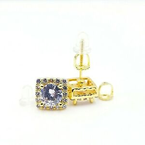 Gorgeous 14kt Gold Finish Vvs crystals screw back earrings 4 colors High Quality