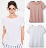 Ladies Womens Boden Thelma Embroidered Summer Cotton White Pink T-shirt Top NEW