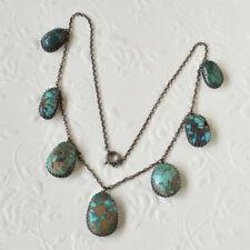 Antique Arts & Crafts Victorian Silver Matrix Turquoise Cabochon Drop Necklace