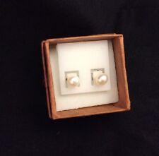 White Cultured Akoya Pearl Earrings, 5-6 Mm, sterling silver butterfly back