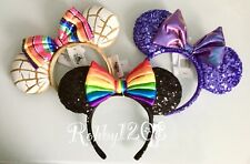 Disney Pan Dulce Concha Purple Potion Rainbow Minnie Ears Headband NWT