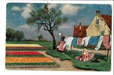 CPA-carte postale-Pays Bas-Une maman pend son linge dans son jardin fleuri 1909