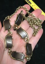 Vintage brown thermoset moonglow Lucite necklace gold tone costume jewelry