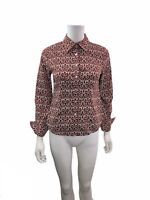 Talbots Women's Size 4P Long Sleeve Red White Button Down Shirt