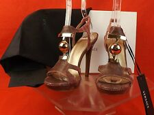 NIB VERSACE PINK SNAKE PRINT LEATHER T STRAP GOLD BALL SANDALS PUMPS 39.5 $1090
