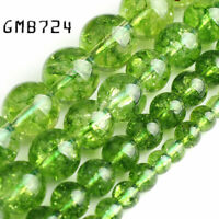 Natural Stone beads Green Peridot Round Loose Spacer Beads Pick Size 4 6 8 10mm